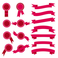 Set of pink stamps and ribbons. Vector illustration