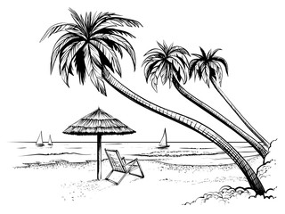 Ocean or sea beach with palms, umbrella, chaise longue and yachts. Hand drawn seaside view.
