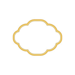 Gold frame. Beautiful simple golden design. Vintage style decorative border, isolated on white background. Deco elegant object. Empty copy space for decoration, photo, banner Vector illustration