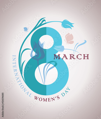March 8 happy womens day spring symbol eight with flower and spring symbol eight with flower and butterflies vector stopboris Image collections