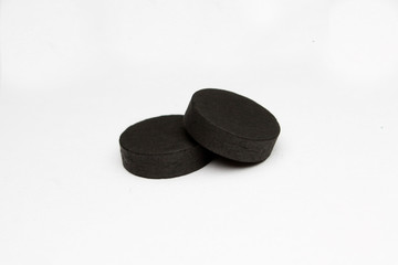 absorbent carbon on white background