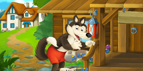 Cartoon funny scene with wolf in front of wooden farm house - illustration for children
