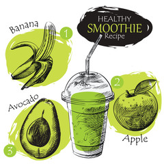 Hand drawn smoothie recipe isolated on white background. Banana, apple, avocado smoothie sketch elements. Eco healthy ingredients vector illustration. Great for poster, banner, voucher, coupon.