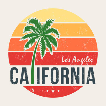 California tee print with styled palm tree