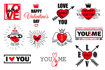 Vector set of valentines day typography lettering logo. Hipster emblems, quote text design with hearts, arrow, burst, pin, crown. Use for banners, greeting cards, gifts, poster.