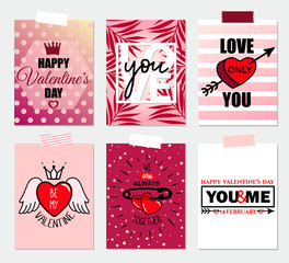 Collection of Valentine's day greeting card templates with typography text signs, red hearts, crown, pin, arrow, love you inspirational quote. Poster, label, banner design set. Vector illustration.