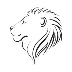 Isolated lions head, vector illustration. Lion's profile.