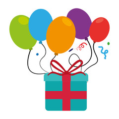 colorful picture gift box and balloons with confetti vector illustration