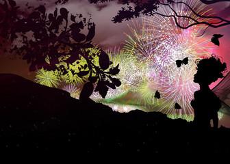 Fireworks celebration around the fantasy world