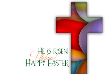 Happy Easter cross made of colorful painted Easter eggs, religious holiday illustration