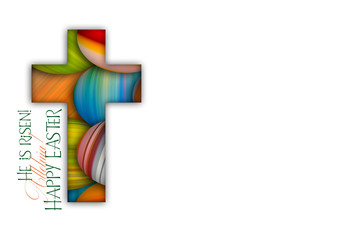Happy Easter cross made of colorful painted Easter eggs, religious holiday illustration Wall mural