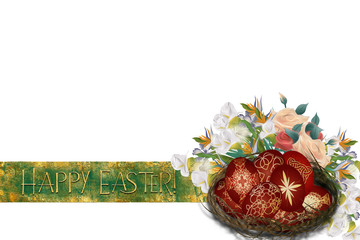 Happy Easter - Easter resurrection background with a crown of thorns and flowers