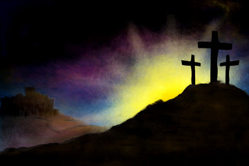 Easter morning - resurrection dawn with Calvary hill and three crosses