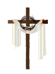Easter resurrection background with a cross, bloody white cloth
