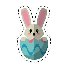 cartoon easter bunny in egg surprise vector illustration eps 10
