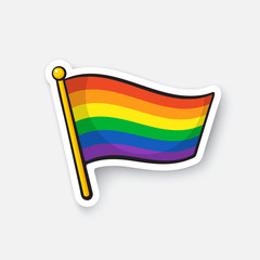 Vector illustration. Flag of LGBT community on flagstaff. Banner in rainbow color. Cartoon sticker with contour. Decoration for greeting cards, posters, patches, prints for clothes, emblems