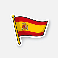 Vector illustration. Flag of Spain on flagstaff. Location symbol for travelers. Cartoon sticker with contour. Decoration for greeting cards, posters, patches, prints for clothes, emblems
