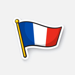 Vector illustration. Flag of France on flagstaff. Location symbol for travelers. Cartoon sticker with contour. Decoration for greeting cards, posters, patches, prints for clothes, emblems