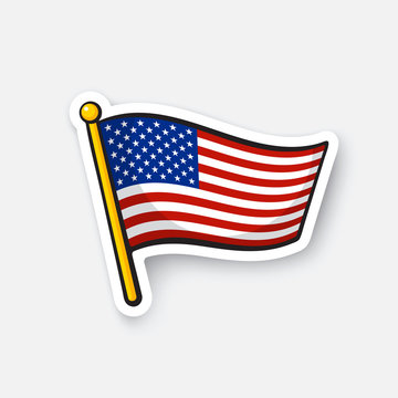 Vector illustration. Flag of the United States on flagstaff. Checkpoint symbol for travelers. Cartoon sticker with contour. Decoration for greeting cards, posters, patches, prints for clothes, emblems