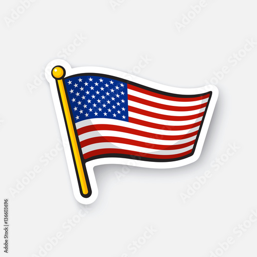 Vector Illustration Flag Of The United States On Flagstaff