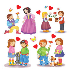 Prince and princess, cute boys and girls. Set of cute greeting cards for Valentine's Day