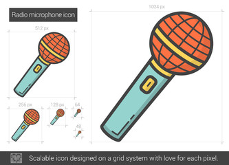 Radio microphone line icon.