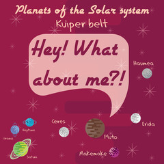 Planets of Solar system in flat style. Kuiper belt according to new classification with Pluto as the largest and most-massive member. Vector illustration