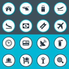 Set Of 16 Simple Transportation Icons. Can Be Found Such Elements As Garage, Antenna, Currency And Other.