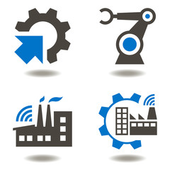 Industry 4.0 vector icon set. Industrial illustration eps 10. Factory iot integration automation modernization robot arm engineering manufacturingcogwheel iot technology