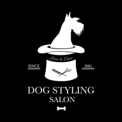 Logo for dog hair salon, styling and grooming shop, pet store for dogs. Vector illustration