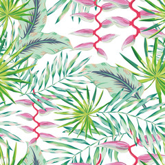 Green palm leaves and pink heliconia flower on the white background. Vector seamless pattern. Tropical illustration. Jungle foliage.