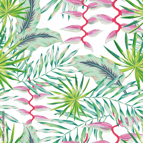 u0026quot green palm leaves and pink heliconia flower on the white background  vector seamless pattern