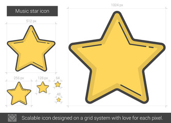 Music star line icon.