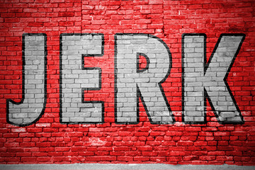 Jerk Ziegelsteinmauer Graffiti