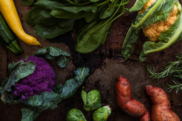 Raw Vegetables Overhead on Rustic Surface
