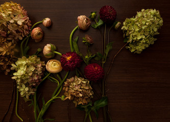 Overhead view of variety of flowers on wooden background