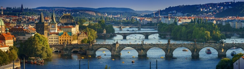 Panoramic view Vltava river from Letn Park, Prague, Czech Republic Wall mural