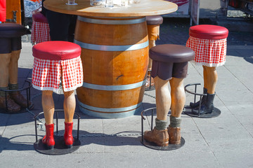 Barstool in the shape of human legs, funny