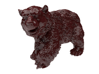 3D concept - Grizzly bear on white background