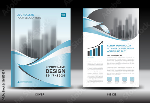 Annual Report Brochure Flyer Template, Blue Cover Design, Business