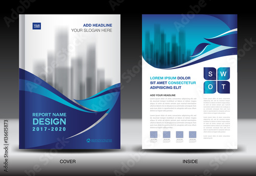 Annual Report Brochure Flyer Template Blue Cover Design Business - Company profile brochure template