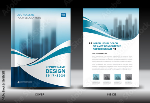 Annual Report Brochure Flyer Template, Blue Cover Design, Business,  Newsletter, Book,