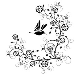 Hummingbird with flowers vector