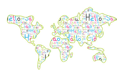 World map on the white background rainbow hello pattern