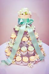 Cupcake Wedding Cake and Ribbons