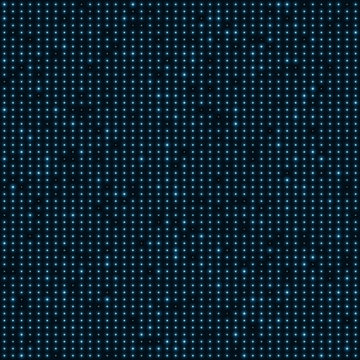 Abstract blue color neon dots, dotted technology background. Glowing particles, led light pattern, futuristic texture, digital vector design