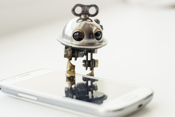 Steampunk robot with smartphone