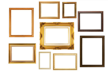 Classic wooden frame isolated on white