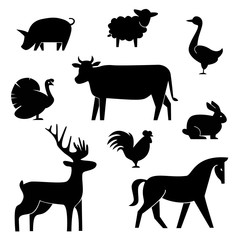 Set of butchery logotype templates. Cartoon farm animals with sample text. Retro styled toy   black silhouettes collection for meat stores, groceries, packaging and advertising. butcher block design.