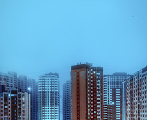 residential high buildings at night